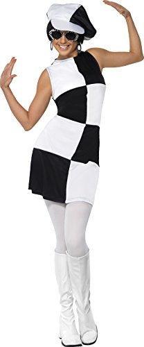 Smiffys, Damen 60er Partygirl Kostüm, Kleid und Mütze, Größe: M, 21142 (Schwarze Und Weiße Stiefel)