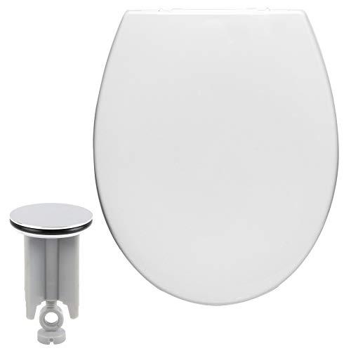 Toilettensitz mit Absenkautomatik, mit Kindersitz, aus Kunststoff, WC Sitz Softclose Scharnier, Antibakteriell, Waschbeckenstöpsel Set