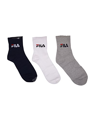 FILA UNISEX 3 PAIR SOCKS - ANKLE LENGTH WHITE-NAVY-GREY SOCKS  available at amazon for Rs.499