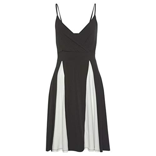 Sonojie Frauen Sommer sexy Strap schwarz und weiß Patchwork v-Ausschnitt reich Casual Dress (Mädchen Safari Kostüm Ideen)