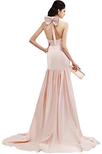 Elegant sirena Sunvary a maniche lunghe con nastro di raso vestito da sera concorso vestito Pearl Pink