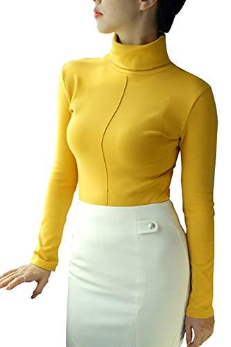 MisShow Damen Herbst Rollkragen-Pullover mit Stretchkomfort Langarmshirt Gelb XXXL
