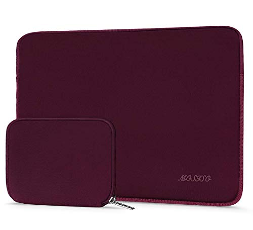 MOSISO Wasserabweisend Neopren Hülle Sleeve Tasche Kompatibel 13-13,3 Zoll MacBook Pro, MacBook Air, Notebook Computer Laptophülle Laptoptasche Notebooktasche mit Kleinen Fall, Weinrot