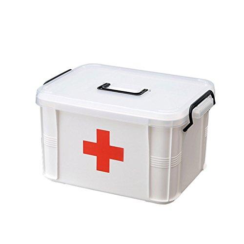 Levoberg Medizinbox abschließbar 33 * 22.5 * 18cm, Erste Hilfe Box mit getrennten Fächer aus PP Hausapotheke Aufbewahrungsbox mit Griff