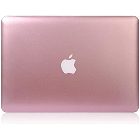 FUCNEN? oro rosa in metallo rigida opaca, Borsa per Mac Book Air da 11,6, PLASTICA METALLO, rosa, 15.4 Pro
