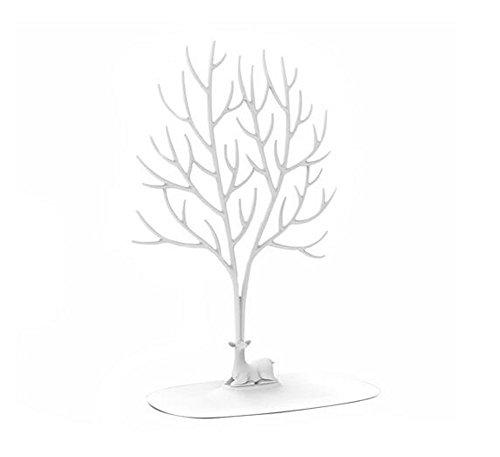 Espositore collane e anelli decorativo a forma di cervo sika con albero white large