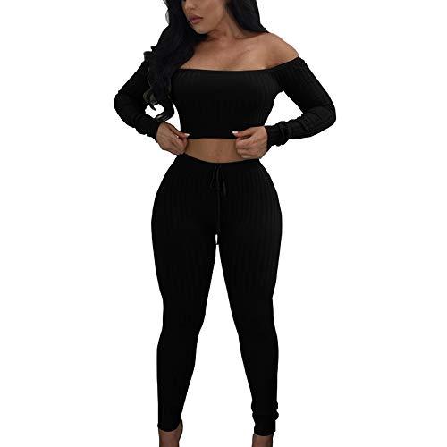 FORH Damen Mode 2 Stück Set Outfits Langarm Streifen Crop Top Trägerlos T-Shirt +Reizvolle Bodycon Paket Hüfte Hosen Beiläufig Outfit Sport Bekleidung