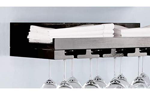 He Bar Weinregal, auf den Kopf gehängten Getränkehalter, Möbel Weinregal Vintage Holz Weinregal Wand Weinregal Wandbehang Weinkühler Creative Goblet Rack Weinregal,Schwarz,Massivholz -