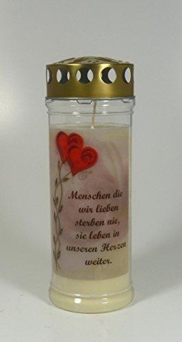 Grablicht-Kerze 20*7 cm - Ranke Rot Herzen - 3737 - Menschen die wir ... - ca. 7 Tage Brenndauer – Grabkerze mit Motiv und Spruch - Trauerkerze mit Foto und Spruch