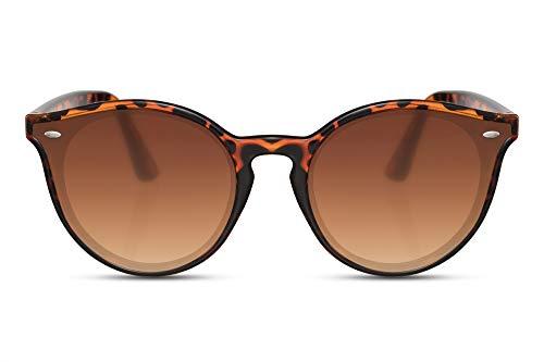 Cheapass Sunglasses Sonnenbrille rund Leopard Rahmen Braun eckige Linsen Retro UV 400 Frauen