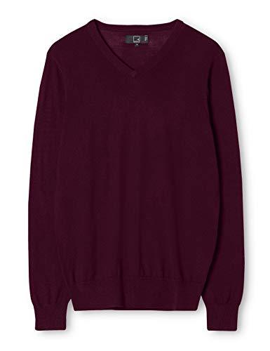 Meraki pullover lana merino uomo scollo a v, rosso (wine), 58 (taglia produttore: xxx-large)
