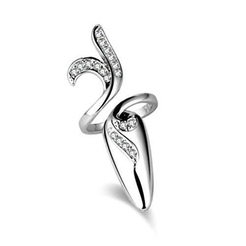 Bishiling Damen Ring Nagel-Ring Tail Finger Rattan AAA Zirkonia Rund Fingerringe Ringe Siber