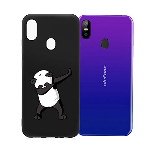 HHUAN Hülle für Ulefone S10 Pro Schwarz Case Dünn Weiche Silikon Kühler Panda Stoßfest Handyhülle Tasche Schale Bumper TPU Schutzhülle Cover für Ulefone S10 Pro (5.7