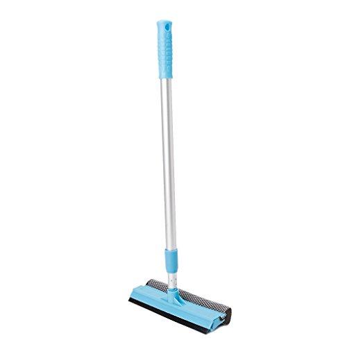 Landum - Cepillo para ventana, doble cara, barra de extensión, limpiador de cristal, limpiador de parabrisas, cepillo de limpieza para ventanas Brush Length 20cm azul