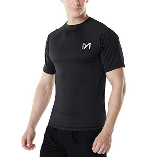 MEETYOO Kompressionsshirt Herren, Laufshirt Kurzarm Funktionsshirt Atmungsaktiv Sportshirt Männer T-Shirt für Running Jogging Fitness Gym -