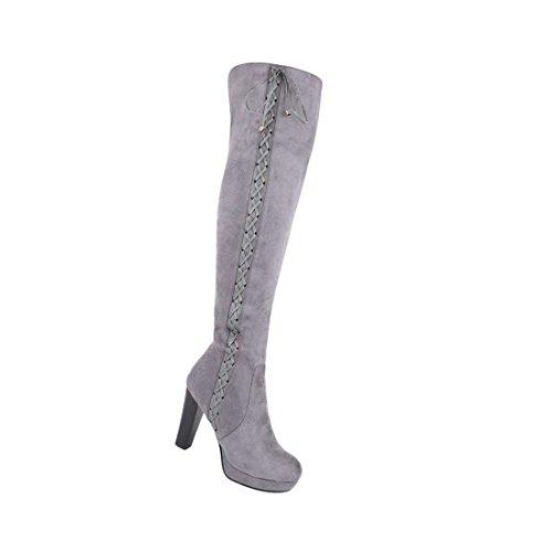 Damen Overknee Stiefel Schuhe Mit Reißverschluss Schwarz Grau 36 37 38 39 40 41 Grau