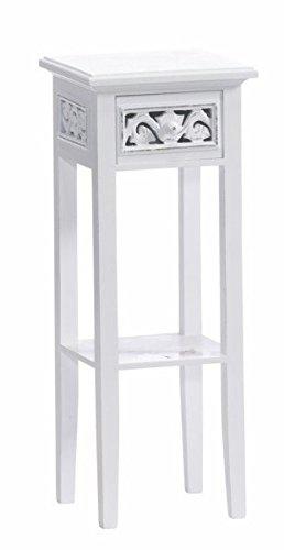 DuNord Design Telefontisch Beistelltisch Kommode CHALET FLORAL Landhaus weiss Shabby Look - Weiß Antik Beistelltisch