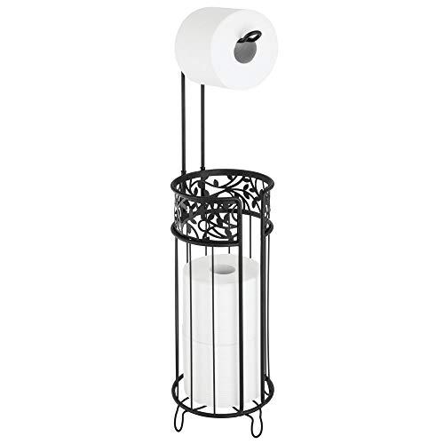 mDesign Toilettenpapierhalter stehend - moderner Papierrollenhalter fürs Badezimmer - Klopapierhalter für mehrere Rollen - mit Halter für 3 Reserverollen - schwarz