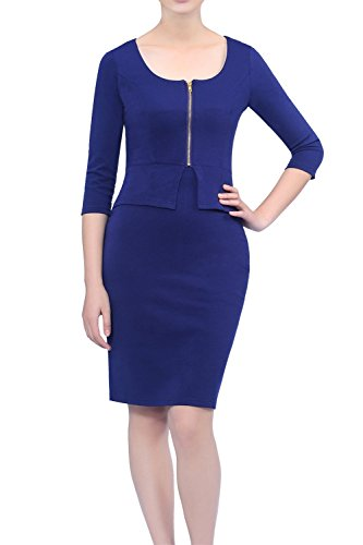 Womdee Damen Bodycon 3/4 Ärmel Business Bleistiftkleid Blau