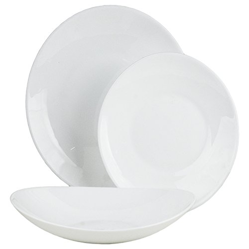 Servicio de 18 platos ovalados Prometeo Bormioli, 6 platos hondos, 6 planos, 6 de Fruta