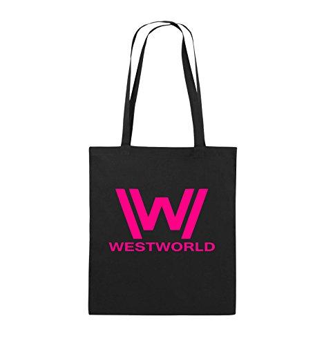 Comedy Bags - WESTWORLD - LOGO - Jutebeutel - lange Henkel - 38x42cm - Farbe: Schwarz / Pink Schwarz / Pink