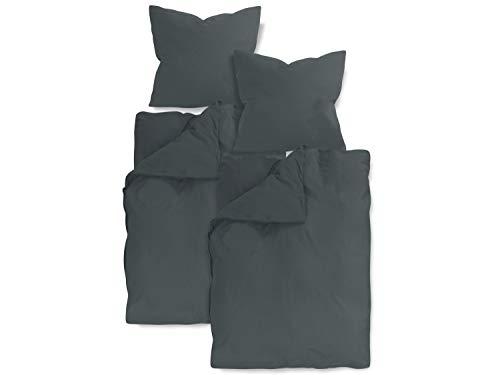 2 Stück Bettwäsche (npluseins 2er Pack Bettwäsche oder 4er Pack Kissenbezug - Baumwoll-Jersey 553.675, 1 Pack (2 Stück) - Bettwäsche ca. 135 x 200 + 80 x 80 cm, anthrazit)