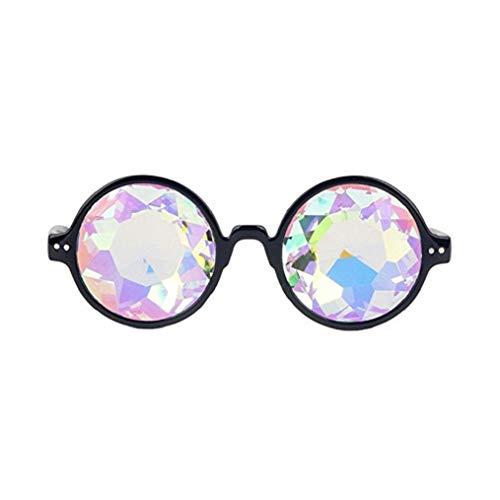 VADOO Kaleidoskop Gläser Regenbogen Prisma Sonnenbrille Für Frauen Männer Beste Rave Party Beugung Glas Kristall Linsen(Schwarz)