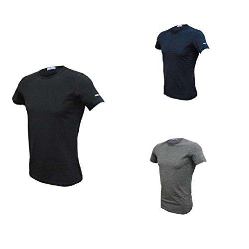 3 t-shirt uomo mezza manica girocollo cotone bielatico enrico coveri art et1000 (7/xxl, nero/blu/grigio)