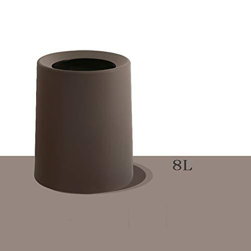 Versteckte Papierkorb (SSKO cans Runde Mülleimer, Kunststoff Müll-Container Papierkorb Abfalleimer Versteckte müllsack Herausnehmbaren innenschuh Für büro Bad-braun 25.6x22.6x20.8cm(10x9x8inch))
