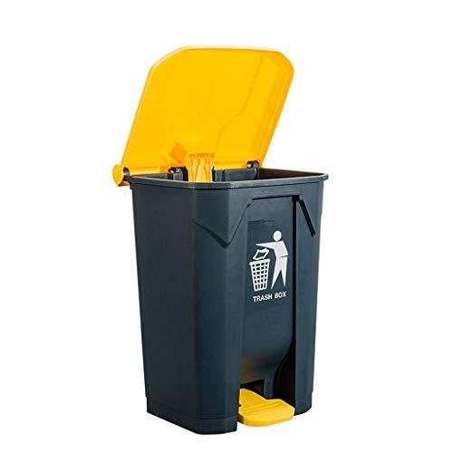 LXJYMX Pattumiera all'aperto Pattumiera di plastica con Piedini per rifiuti Pattumiera all'aperto (Color : Gray+Yellow, Size : 80L)