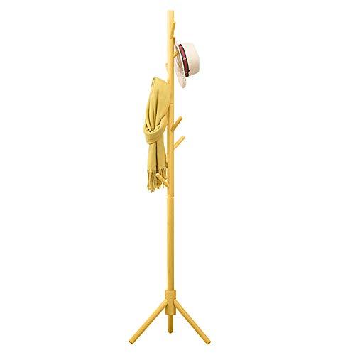 Bakaji attaccapanni appendiabiti di design a piantana da terra in legno di betulla con 8 ganci appendi abiti e base treppiedi dimensione 41 x 41 x 176 cm (giallo)