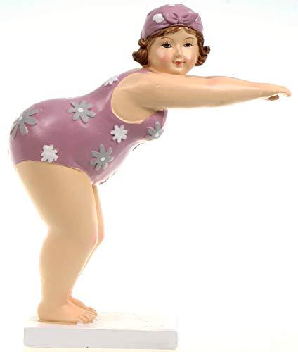 Schwimmerin im geblümten rosa Badeanzug startend 19 cm Mädchen Rubensfrau mollige Dame Dicke Frau Figur Badezimmer Badenixe Meer Urlaub Strand