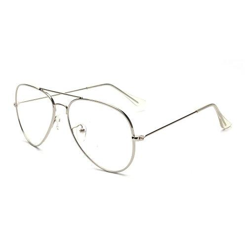 ALWAYSUV klassische Brille Metallgestell Brillenfassung Aviator Vintage Brille Dekobrillen