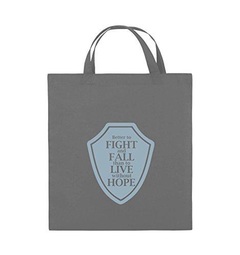 Comedy Bags - Better to fight and fall than to live wihtout hope - Jutebeutel - kurze Henkel - 38x42cm - Farbe: Schwarz / Silber Dunkelgrau / Eisblau