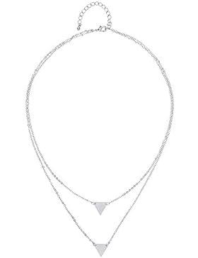 Front Row Damen-Kette silberfarben Dreieck Anhänger - Länge 42-46cm