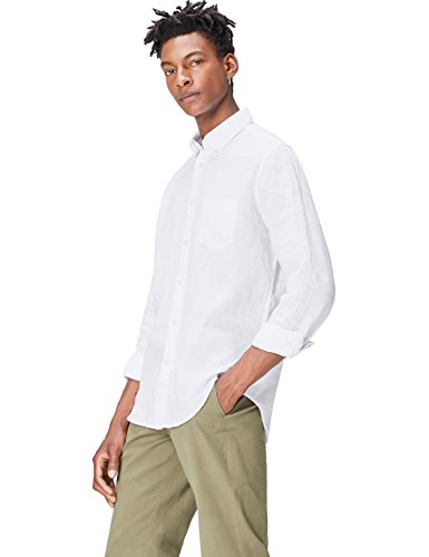 Find camicia in lino regular fit uomo, bianco (white), large