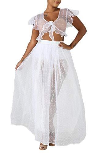 Remxi Damen Sexy durchsichtige Netzkrawatte Tops durchsichtige Röcke Set Bikini Überzug - Weiß - Small - Flirt Rock Cover