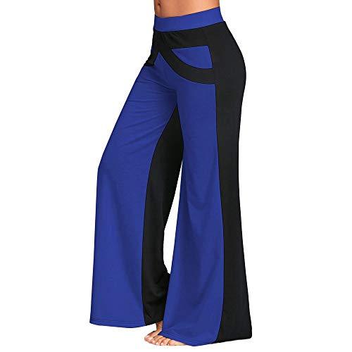 ZIYOU Damen Beinhosen Yoga Sport Fitness Loose fit Hosen, Frauen Patchwork Schlaghosen Elegant Weite Stretch Hosen(L,Blau)