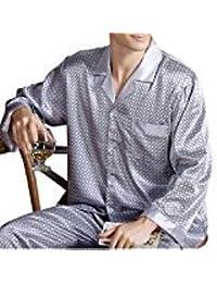 EDTara Men's Luxurious Sleepwear Silk Satin Pajamas Set Long Sleeve Loungewear Includes Top & Pants Grey Asia...