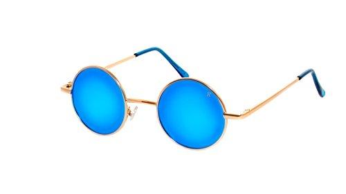 rainbow safety Damen Herren Sonnenbrille Polarisiert Runder Rahmen Stil Lennon Retro Hippi R2317 (R2317F Gold Verspiegelt Blau)