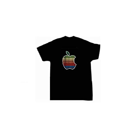 Apple Sound Reactive Equalizer EL Flashing T-Shirt - Size Small