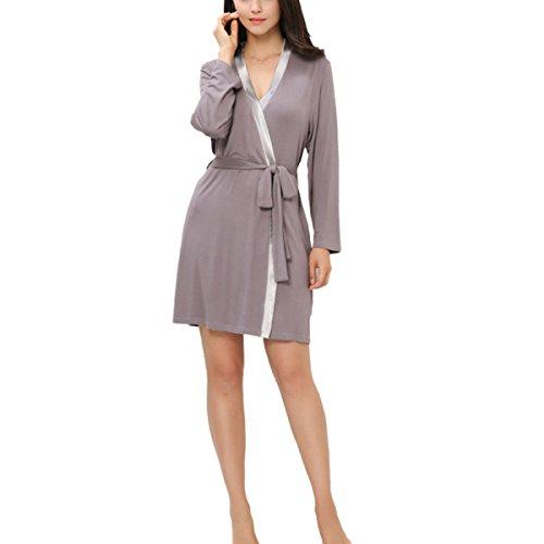 Womens Modal Kimono Lose Bademäntel Sleeping Robes Langarm Nachtwäsche Nachthemd Für Spa Hotel Für Frauen Mädchen Lady,Grey-M (Womens Roben Modal)