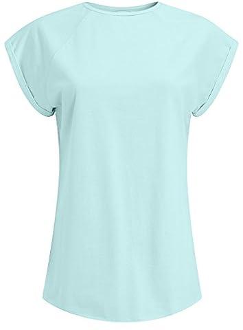 oodji Ultra Femme T-Shirt Basique en Coton, Bleu, FR 40 / M