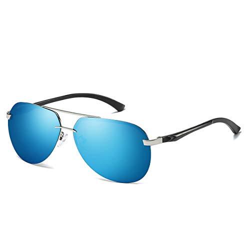 Chereeki occhiali da sole da uomo, occhiali da sole aviatore da donna polarizzati con uv400 protezione (nero, blu)