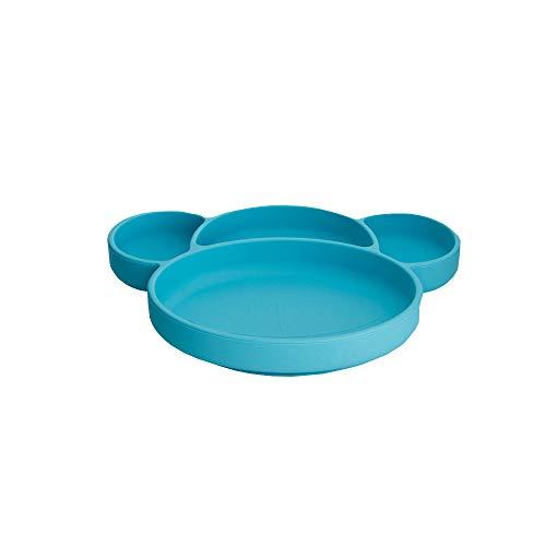 zcyww Baby-Silikon-Tischset Tragbarer Baby-Teller Für Kleinkinder Und Kinder Leistungsstarker Saugnapf Mit BPA-Zulassung Spülmaschinen- Und Mikrowellenfestes Silikon-Tischset,Blue