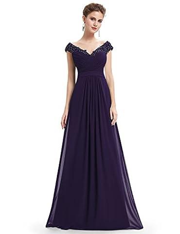 Ever Pretty V Neck Cap Sleeve Maxi Chiffon Bridesmaid Dress 12 UK Dark Purple