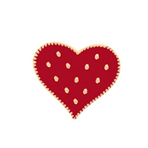 Garispace Rotes Herz Polka Dot Brosche Pins Frauen Brosche Denim Jacken Revers Pin Dekoration Abzeichen Blinkende Metall Emaille Pin Geschenk, Vorsichtig