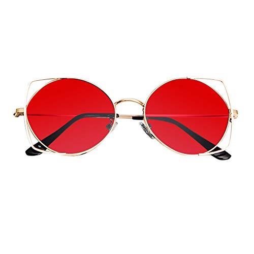 HET Sonnenbrillen für Frauen, Mode Cat Eye Brillen verspiegelt Flache Linsen Sonnenbrille Metallrahmen Sonnenbrille