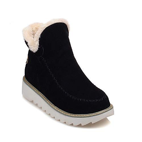 Botas Mujer Invierno Nieve Cuña Botines Fur Plataforma Calientes Cortas Casa Planas Alpargatas Tobillo Ante 3cm Zapatos Beige Marrón Negras 34-43 BK38