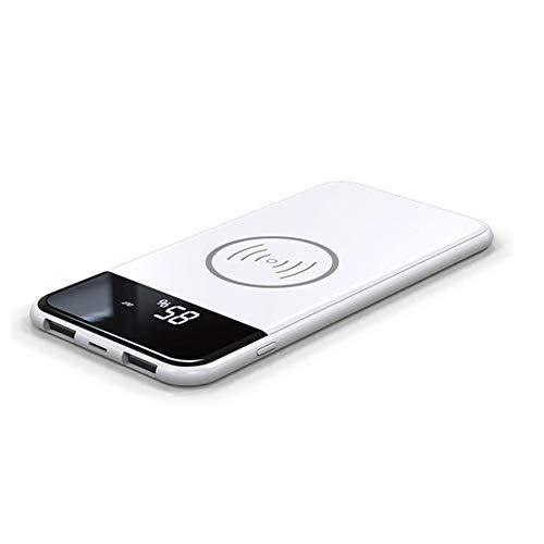 MYGIRLE Mobile Power Ultradünne Schnellladung Zwei in Einem 10000-Mah-Lade-Schatz Für Drahtloses Laden,Mit LED-Digitalanzeige/LED-Leuchten Für Smartphone/Tablet PC/MP3 Player,White